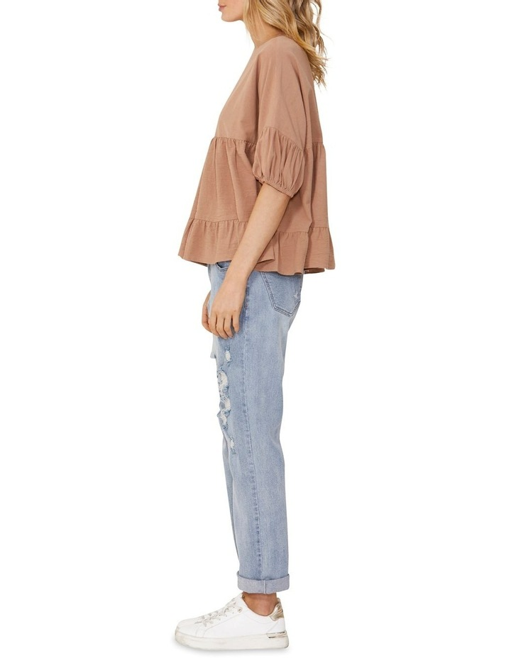 Elsie Cotton Blouse with Puff Sleeve Tan image 3