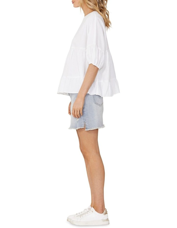 Elsie Cotton Blouse with Puff Sleeve White image 3