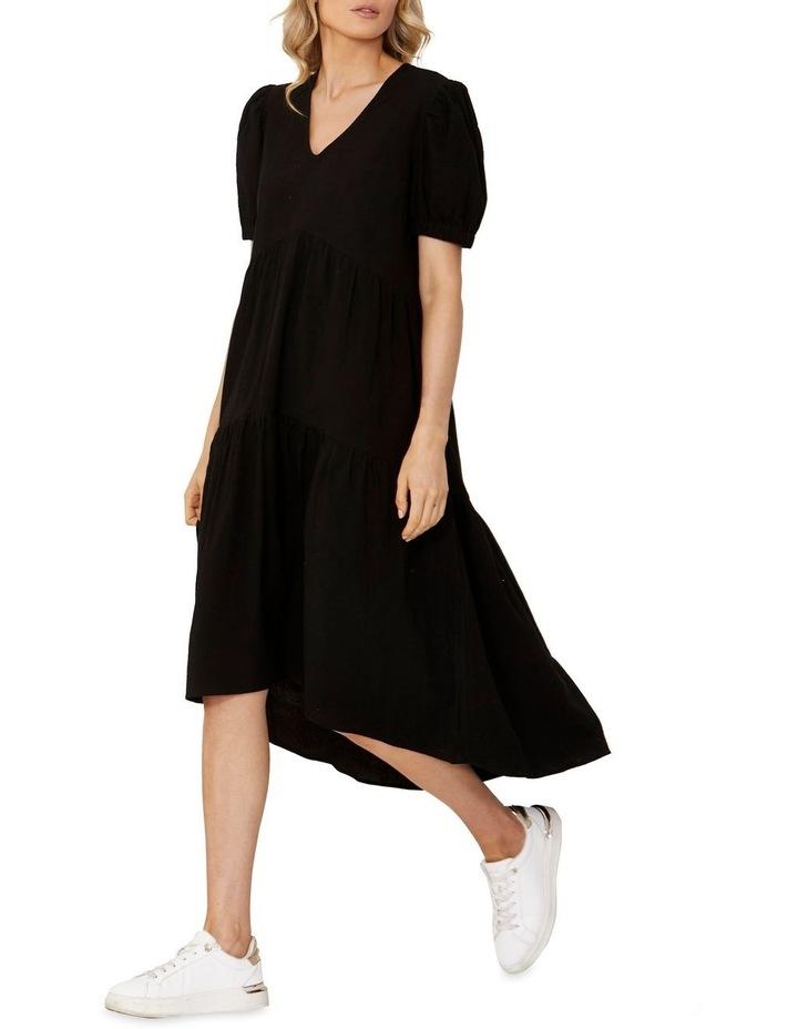 Elsie Tiered Midi Dress Black image 1