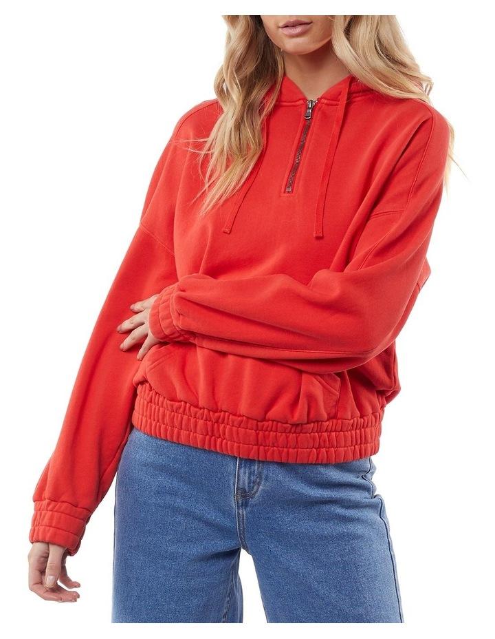 Classic Red Half Zip Hoodie image 2