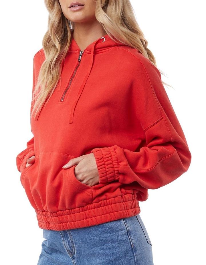 Classic Red Half Zip Hoodie image 4