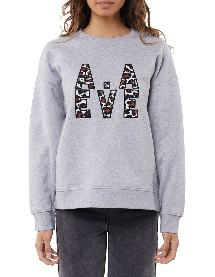 Gemma Patched Grey Marle Crew Neck Sweater image 1