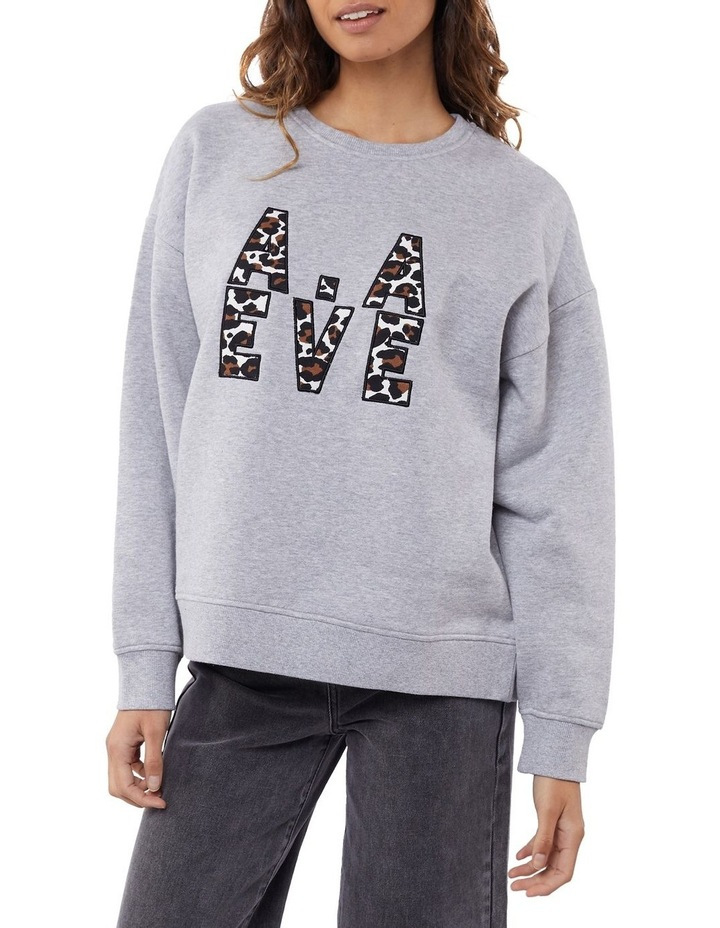 Gemma Patched Grey Marle Crew Neck Sweater image 2