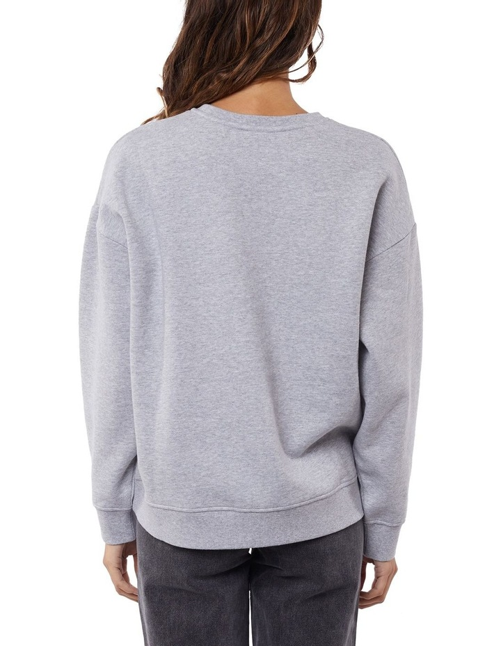 Gemma Patched Grey Marle Crew Neck Sweater image 3