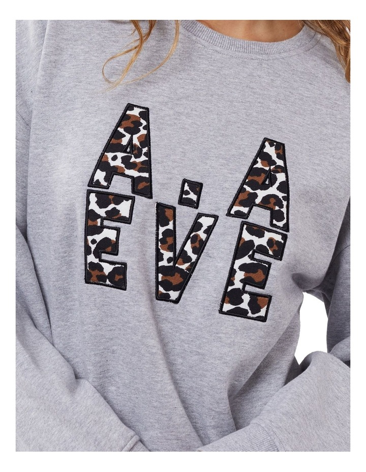 Gemma Patched Grey Marle Crew Neck Sweater image 4