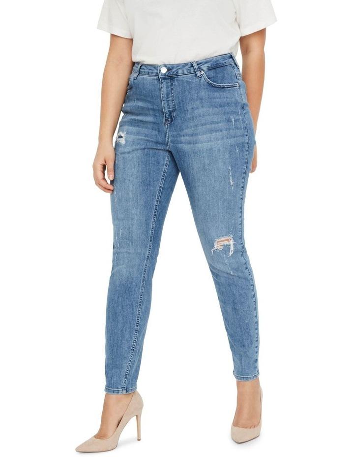 Loraanne Destroy Medium Blue Denim Slim Jean image 1
