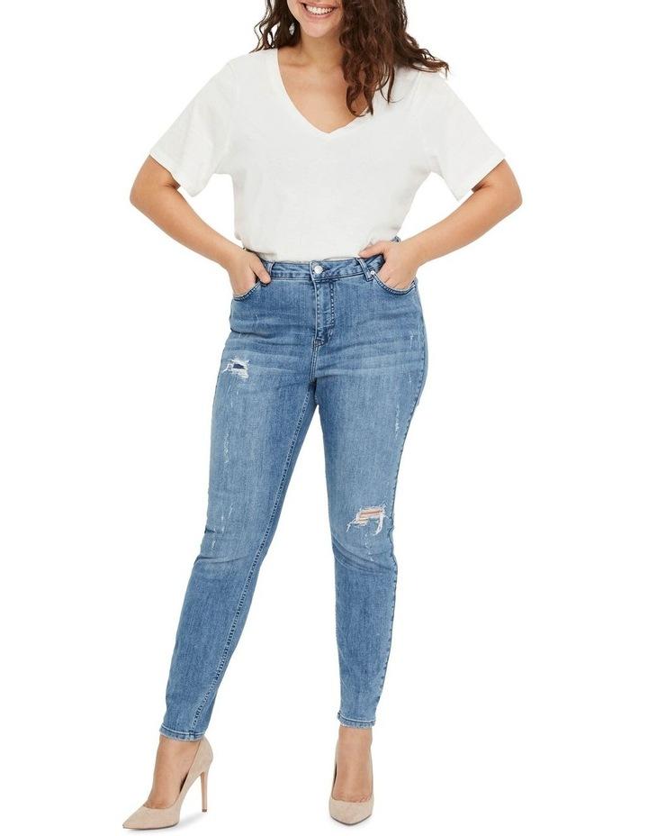 Loraanne Destroy Medium Blue Denim Slim Jean image 3