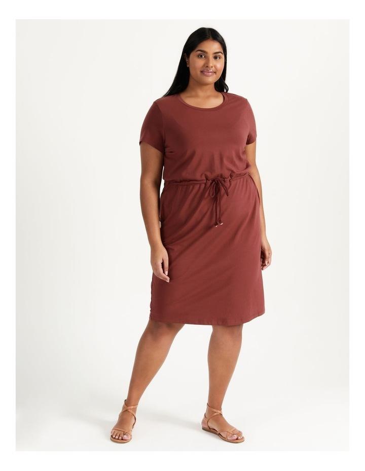 Cot Short Sleeve Below Knee Dress Sable image 2