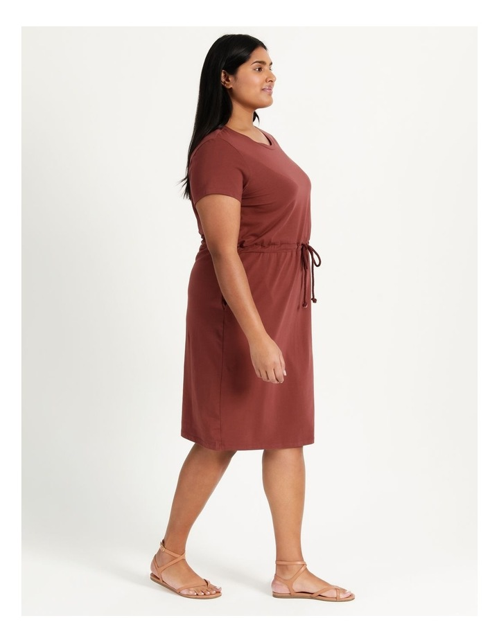 Cot Short Sleeve Below Knee Dress Sable image 3