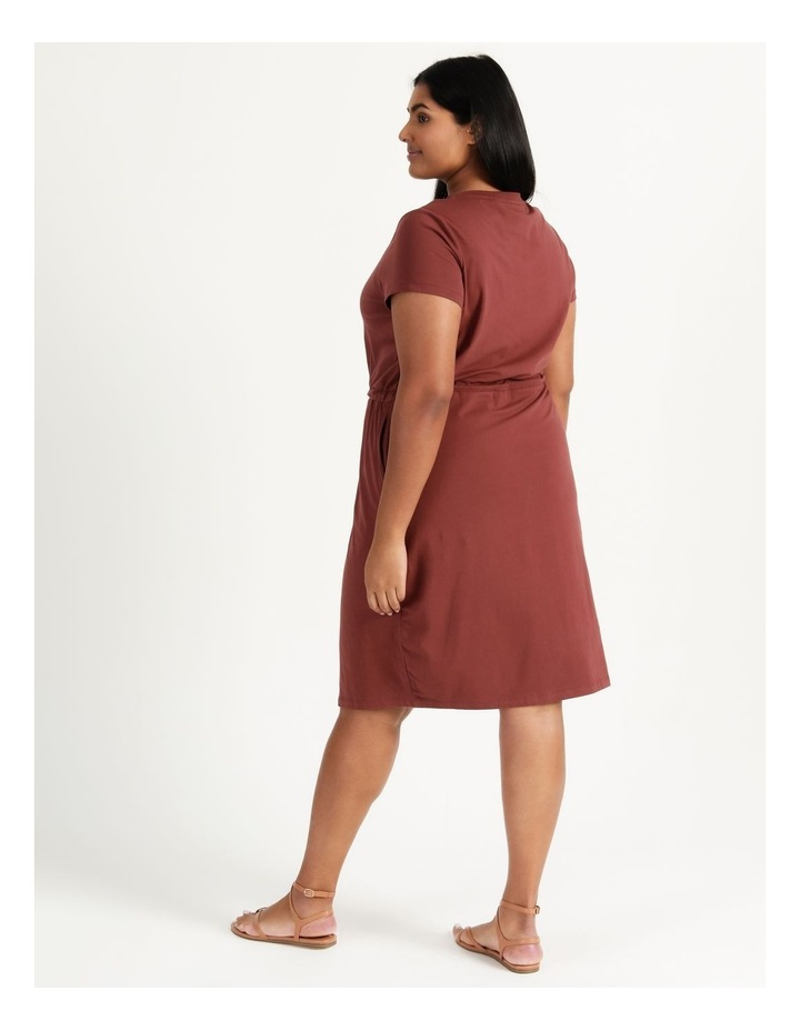 Cot Short Sleeve Below Knee Dress Sable image 4