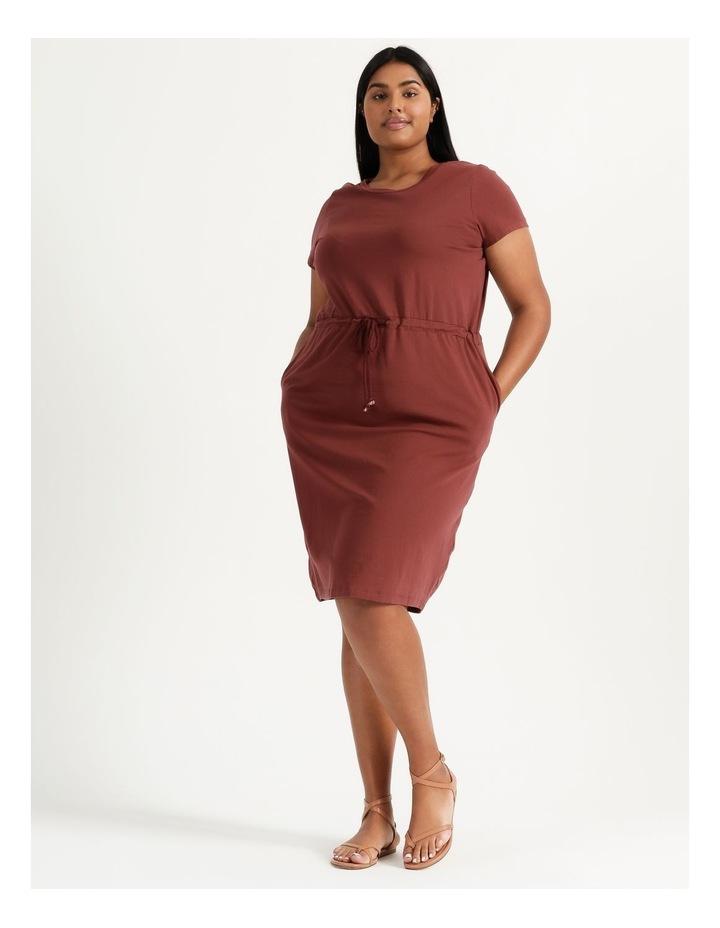 Cot Short Sleeve Below Knee Dress Sable image 5