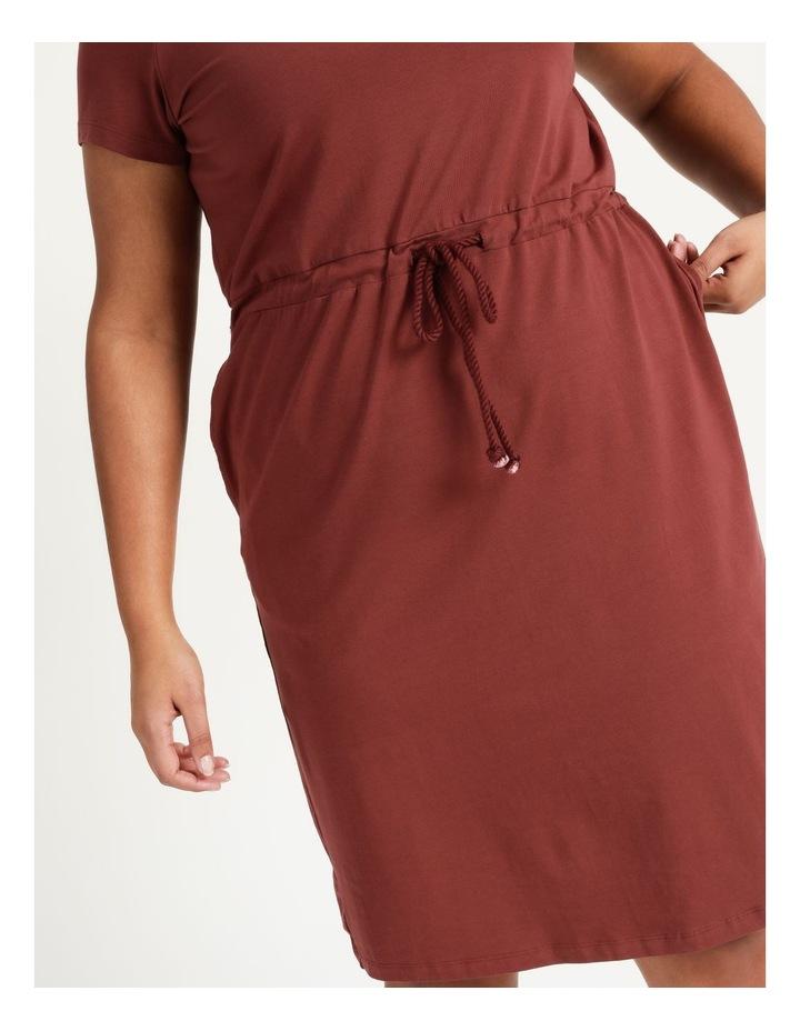 Cot Short Sleeve Below Knee Dress Sable image 6