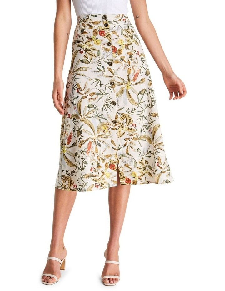 Daintree Forest Multicoloured Linen Midi Skirt image 1