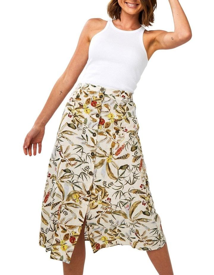 Daintree Forest Multicoloured Linen Midi Skirt image 4