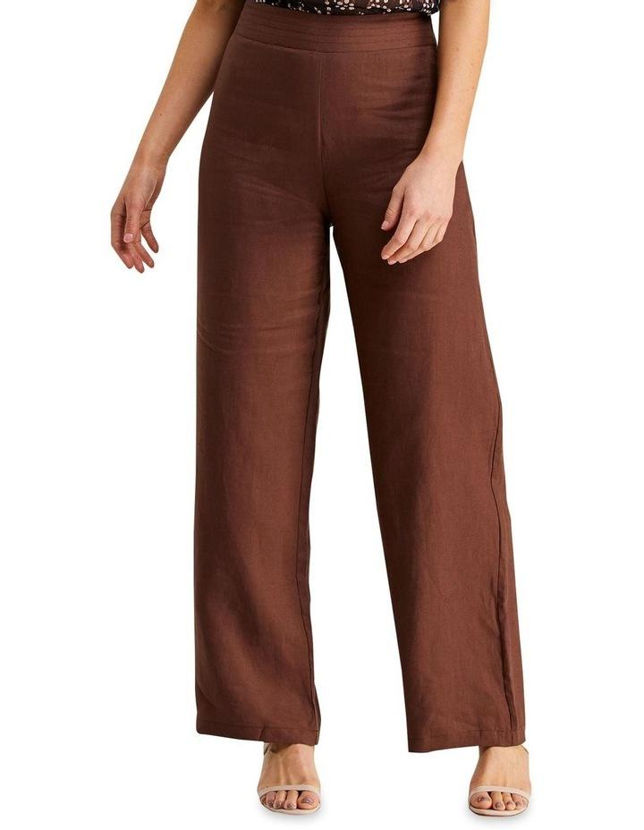 Jena Chocolate Linen Wide Leg Pants image 1