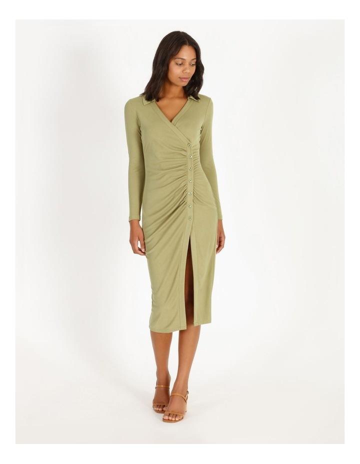 Ruched Bodice Midi Shirt Dress image 1