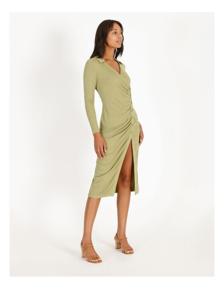 Ruched Bodice Midi Shirt Dress image 2