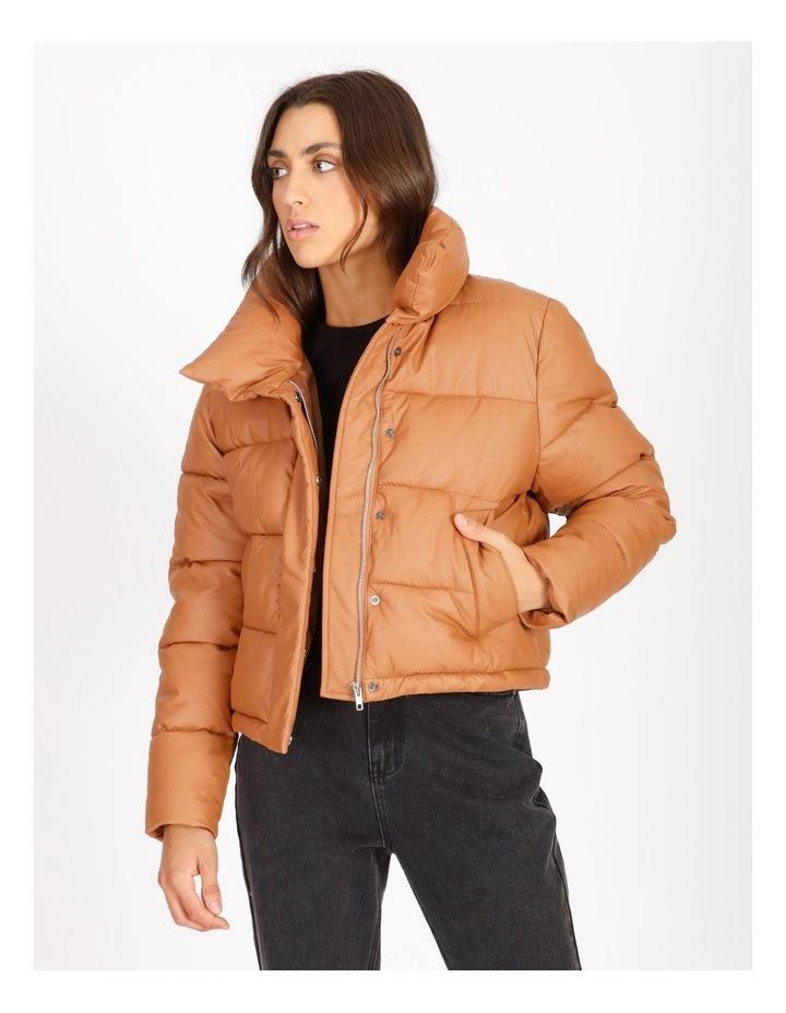 Vegan Leather Puffer Jacket image 1