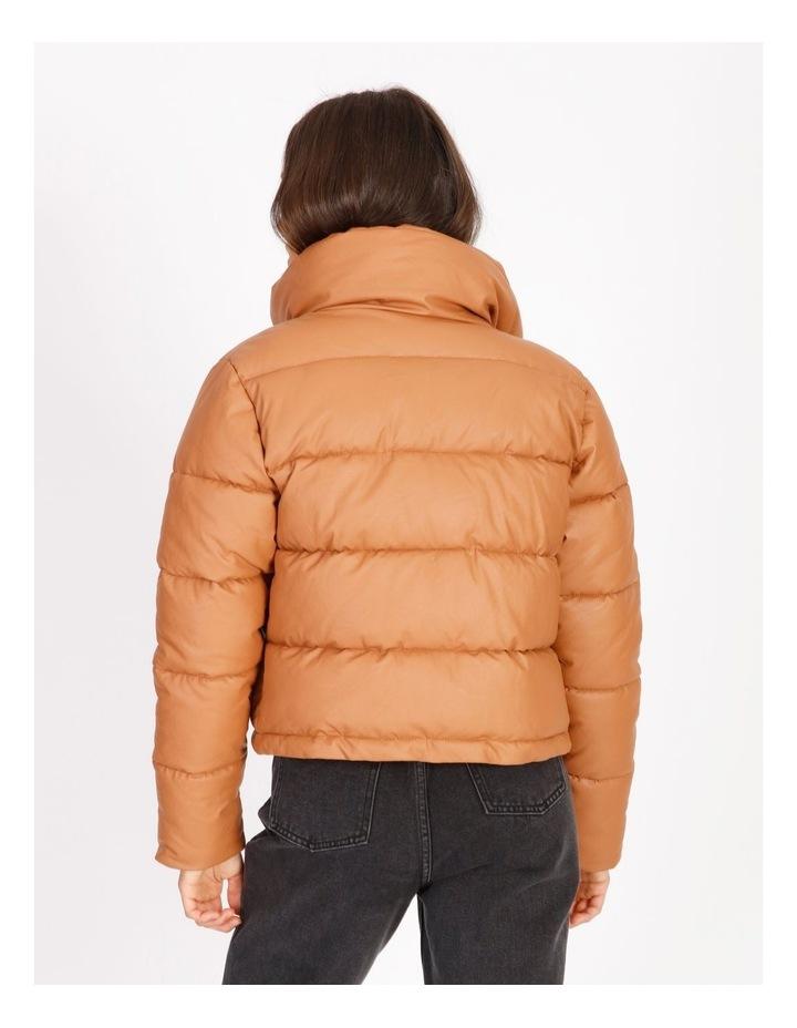 Vegan Leather Puffer Jacket image 3