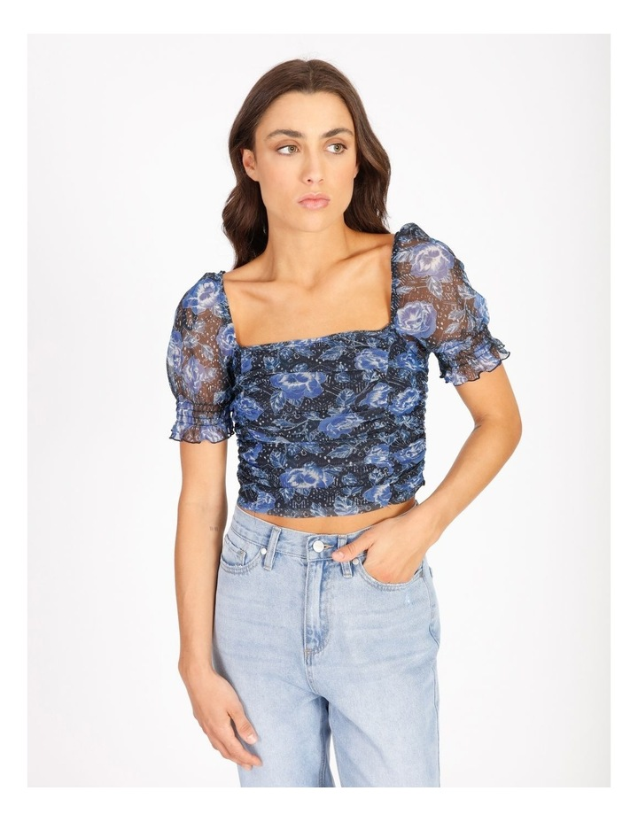 Ruched Top In Blue Floral image 1