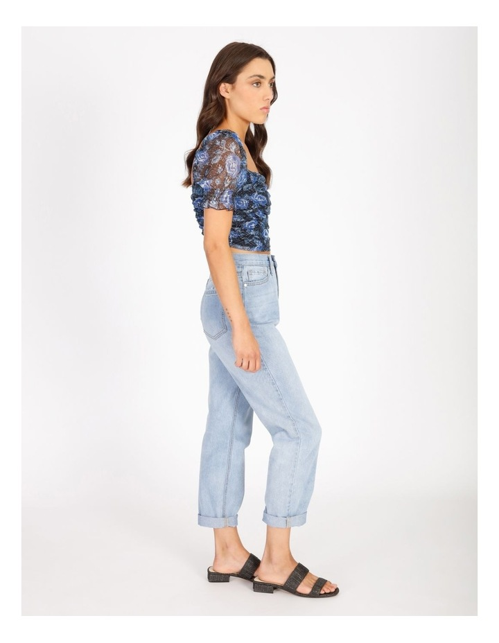 Ruched Top In Blue Floral image 2