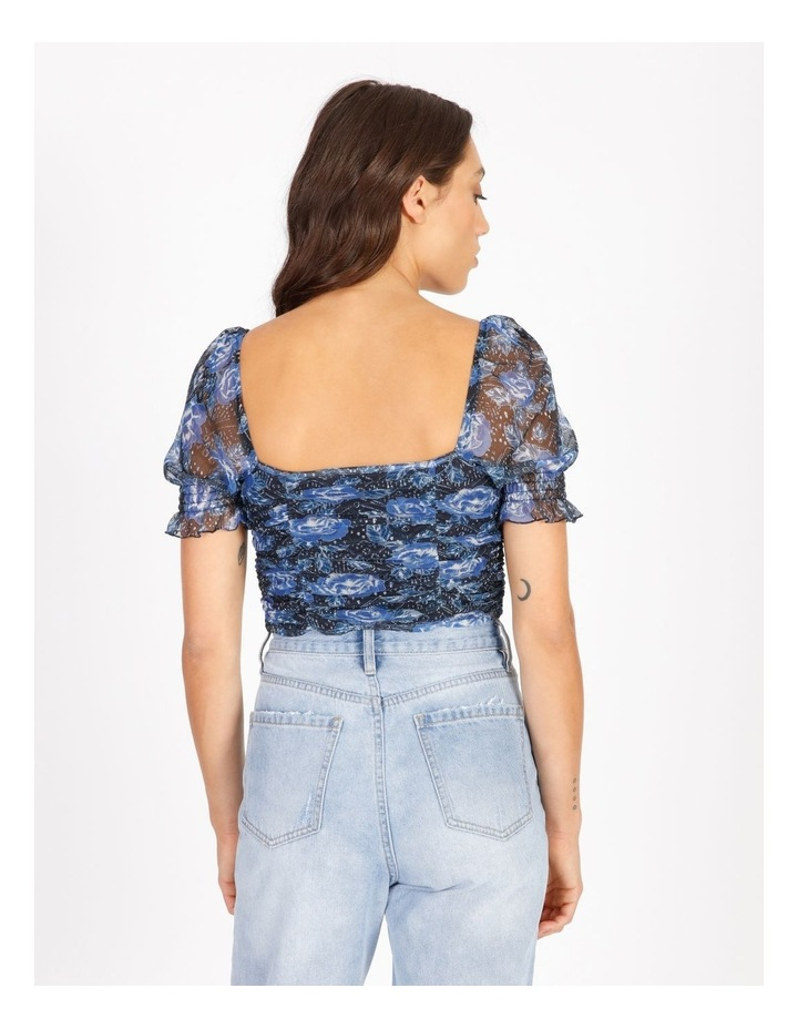 Ruched Top In Blue Floral image 3