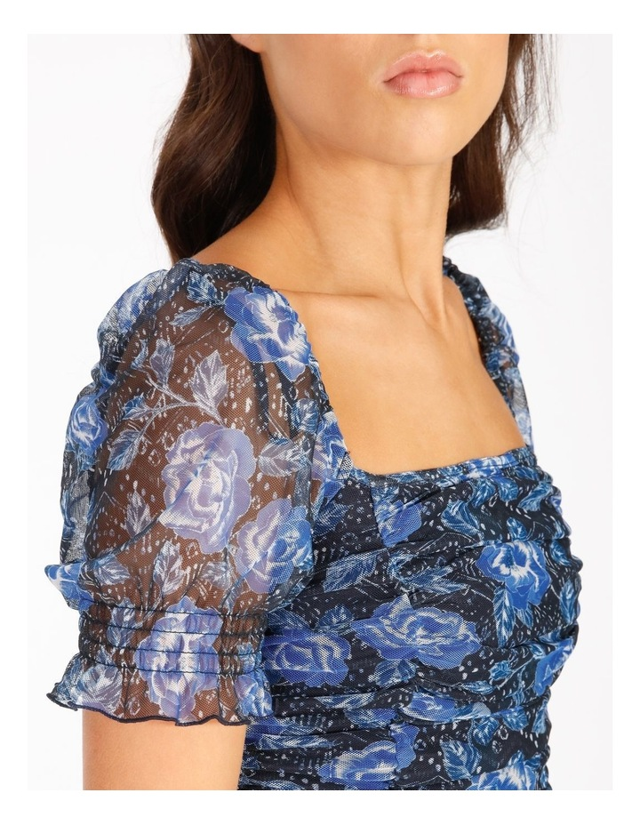 Ruched Top In Blue Floral image 4