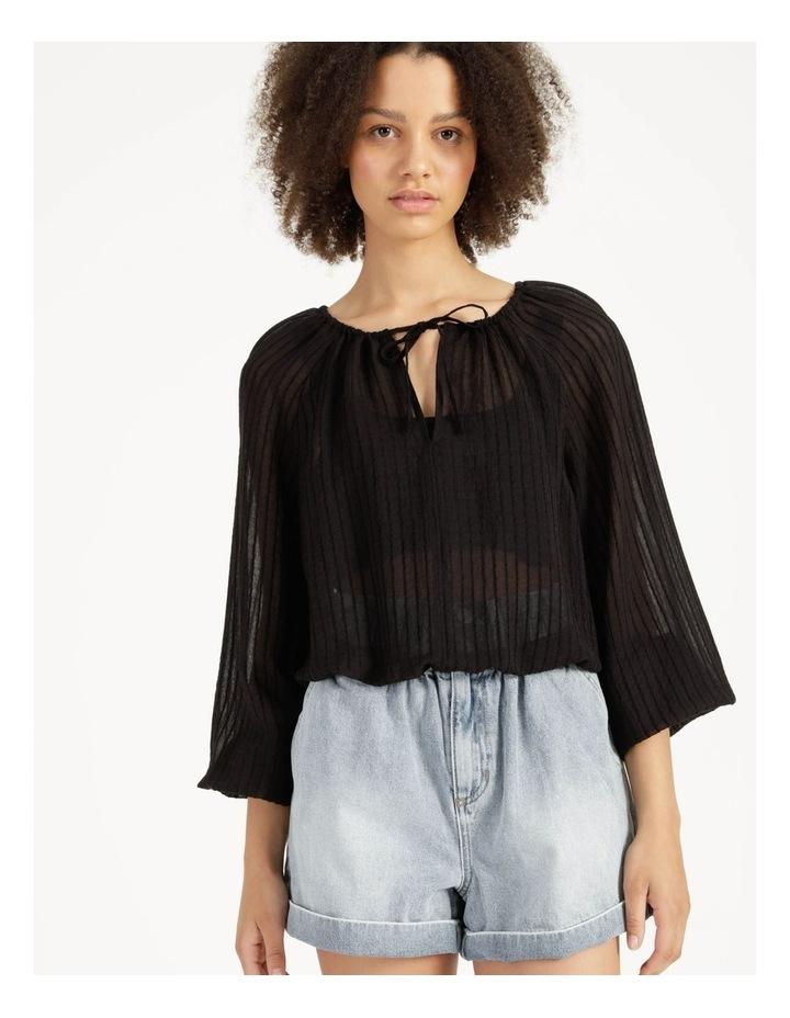 Blouson Sleeve Textured Stripe Blouse Black image 3