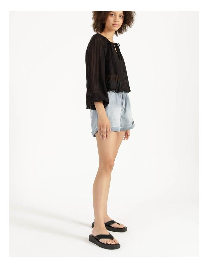 Blouson Sleeve Textured Stripe Blouse Black image 4