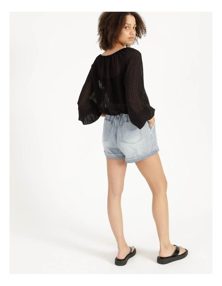 Blouson Sleeve Textured Stripe Blouse Black image 5