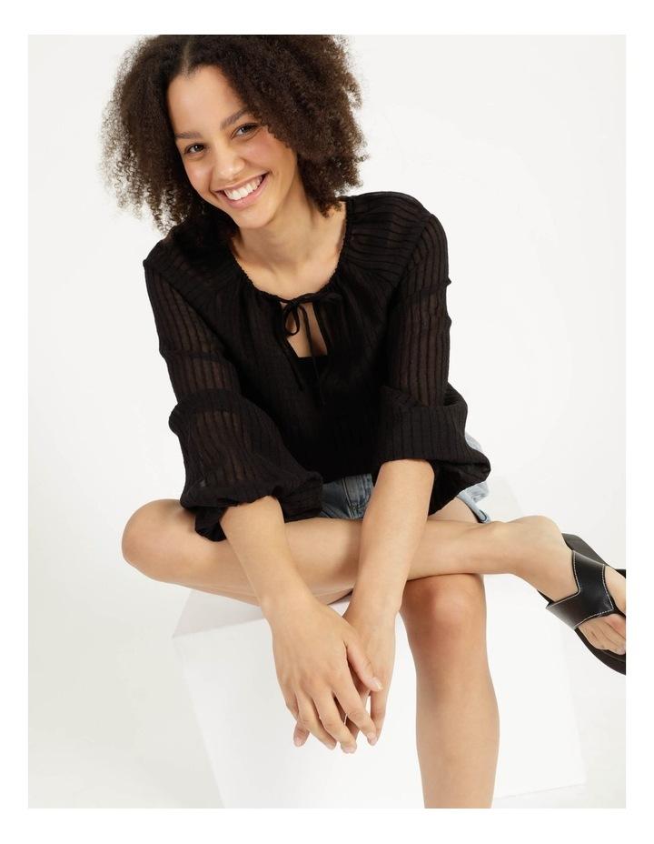 Blouson Sleeve Textured Stripe Blouse Black image 6