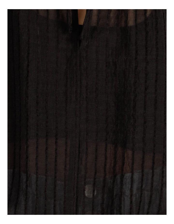 Blouson Sleeve Textured Stripe Blouse Black image 7