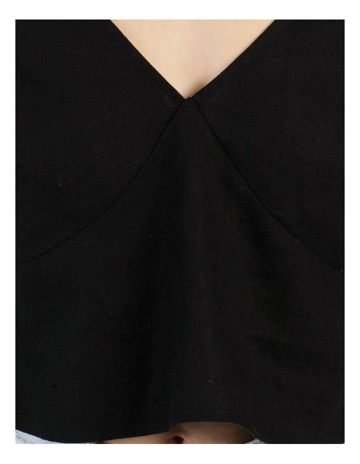 Linen Blend Vee Neck Cami Black image 7