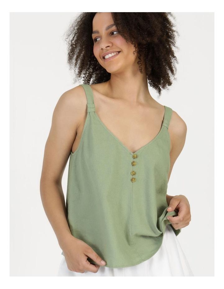 Linen Blend Cami Sea Green image 3