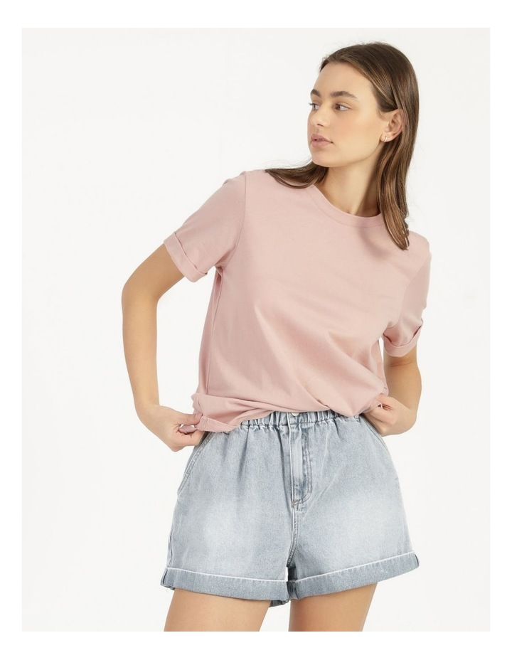 Roll Cuff Jersey Tee Pink image 6