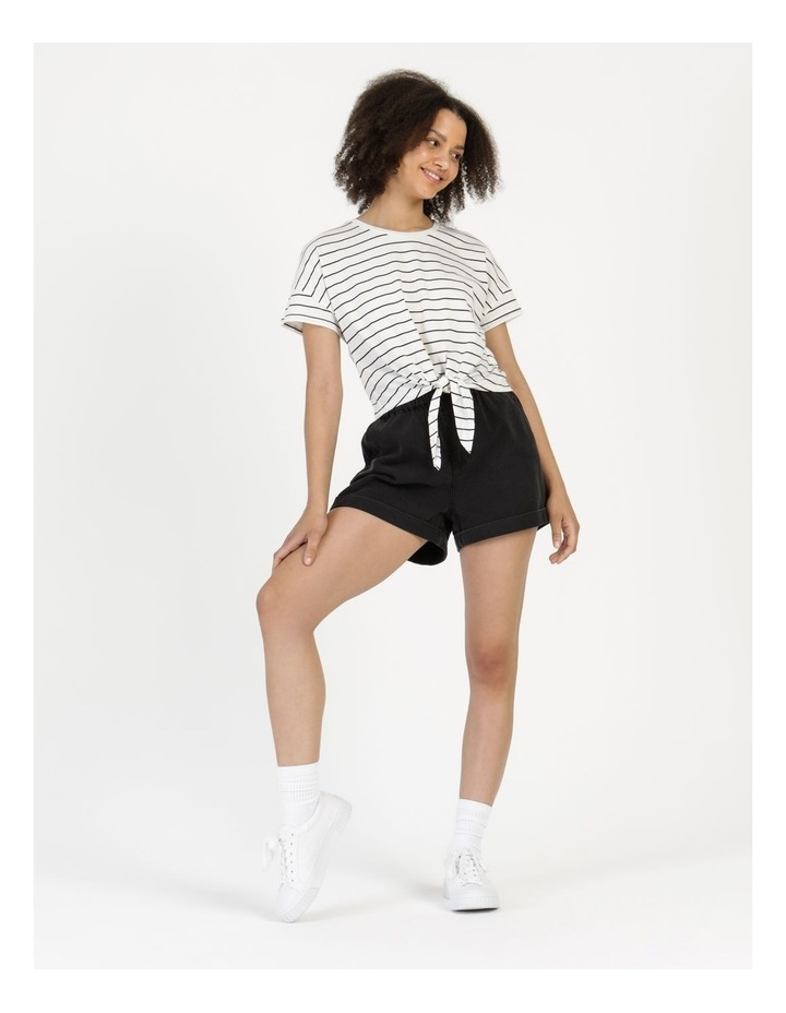 Tie Front Jersey Tee Off White/Charcoal Stripe image 1