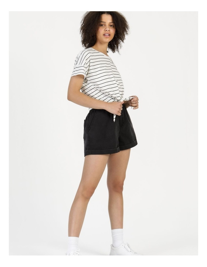 Tie Front Jersey Tee Off White/Charcoal Stripe image 2