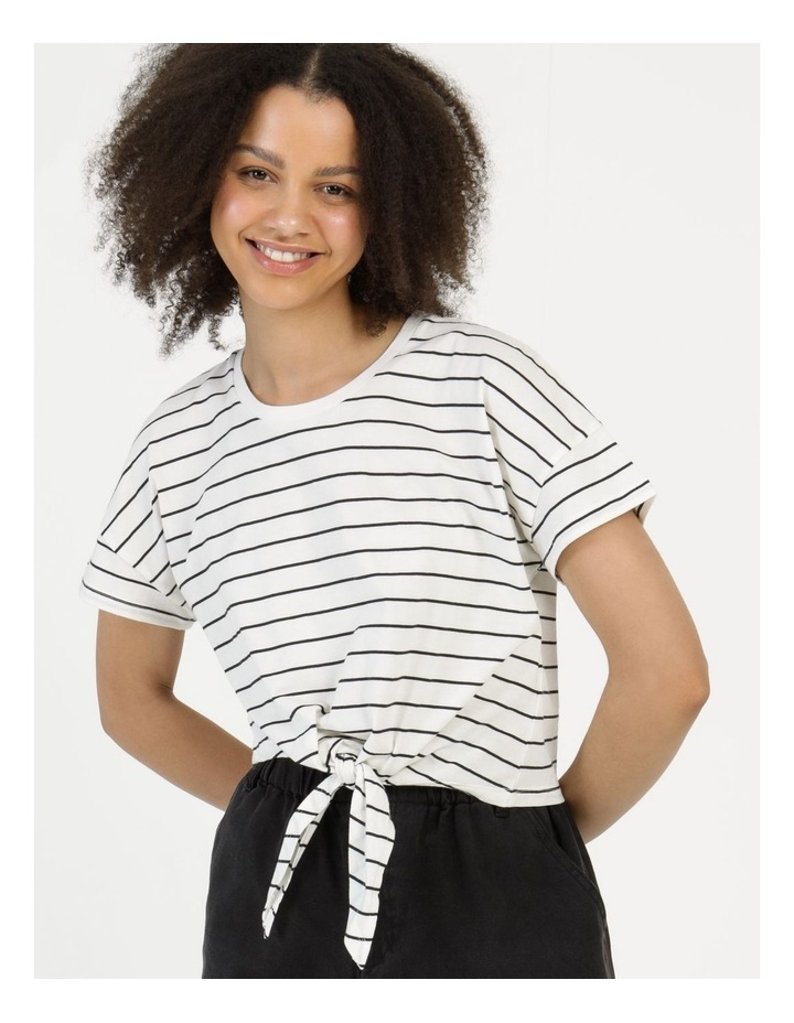 Tie Front Jersey Tee Off White/Charcoal Stripe image 3