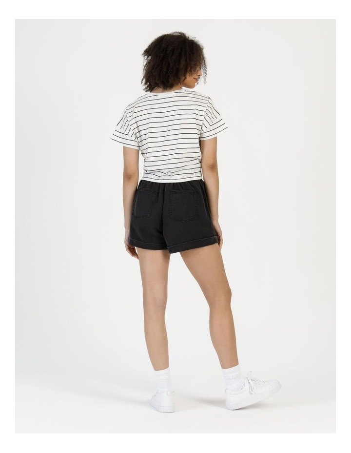 Tie Front Jersey Tee Off White/Charcoal Stripe image 4