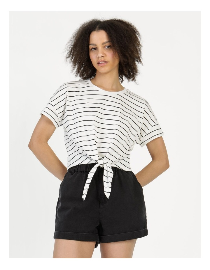 Tie Front Jersey Tee Off White/Charcoal Stripe image 5