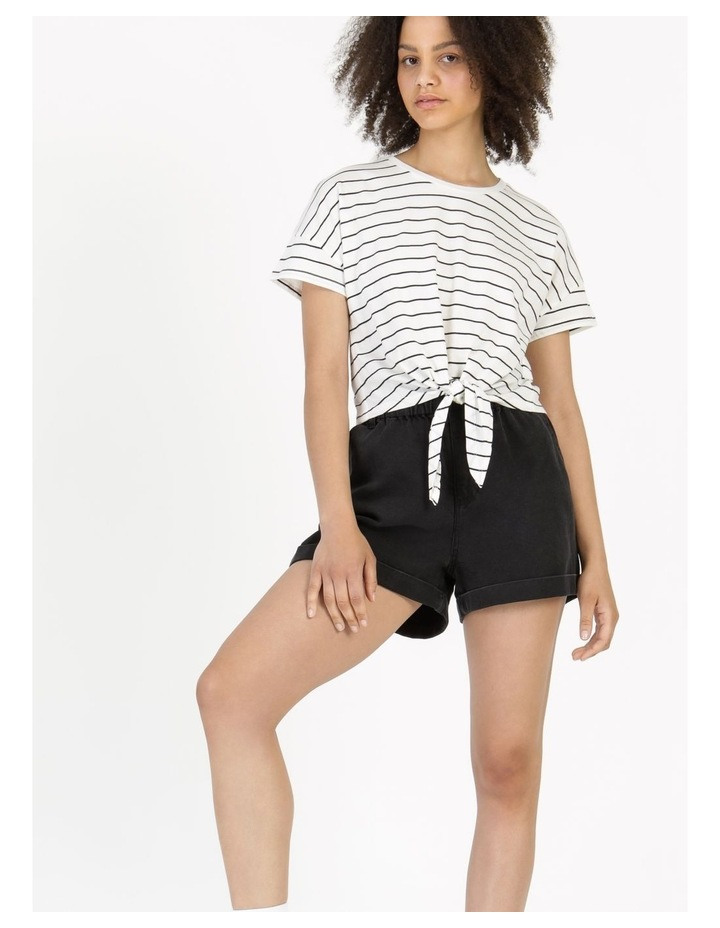 Tie Front Jersey Tee Off White/Charcoal Stripe image 6