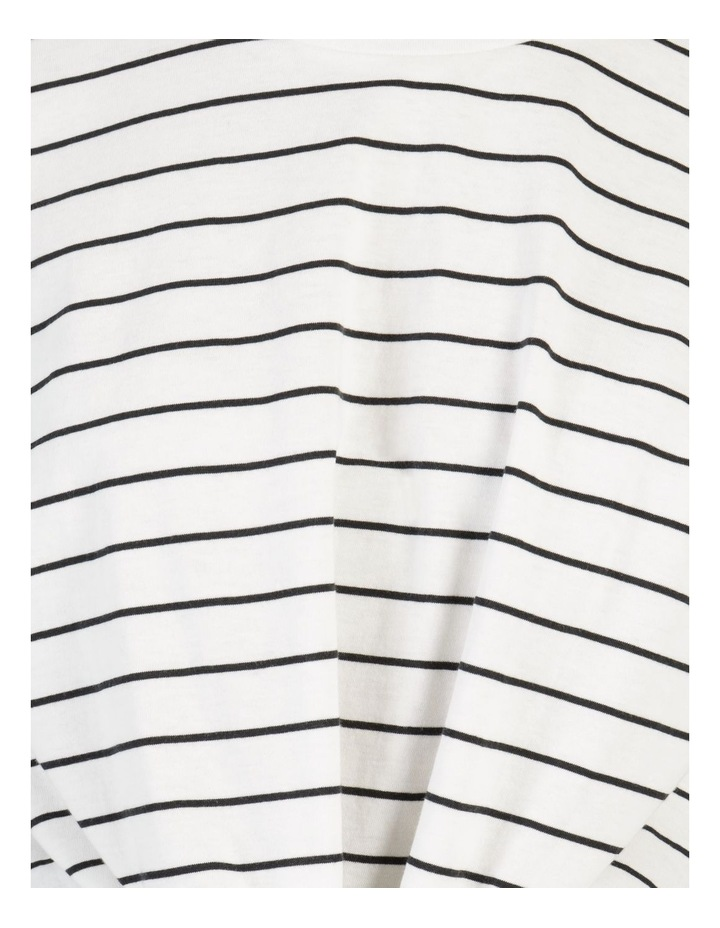 Tie Front Jersey Tee Off White/Charcoal Stripe image 7