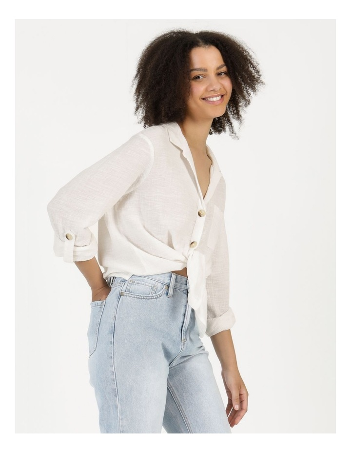 Long Sleeve Textured Cotton Shirt White image 1