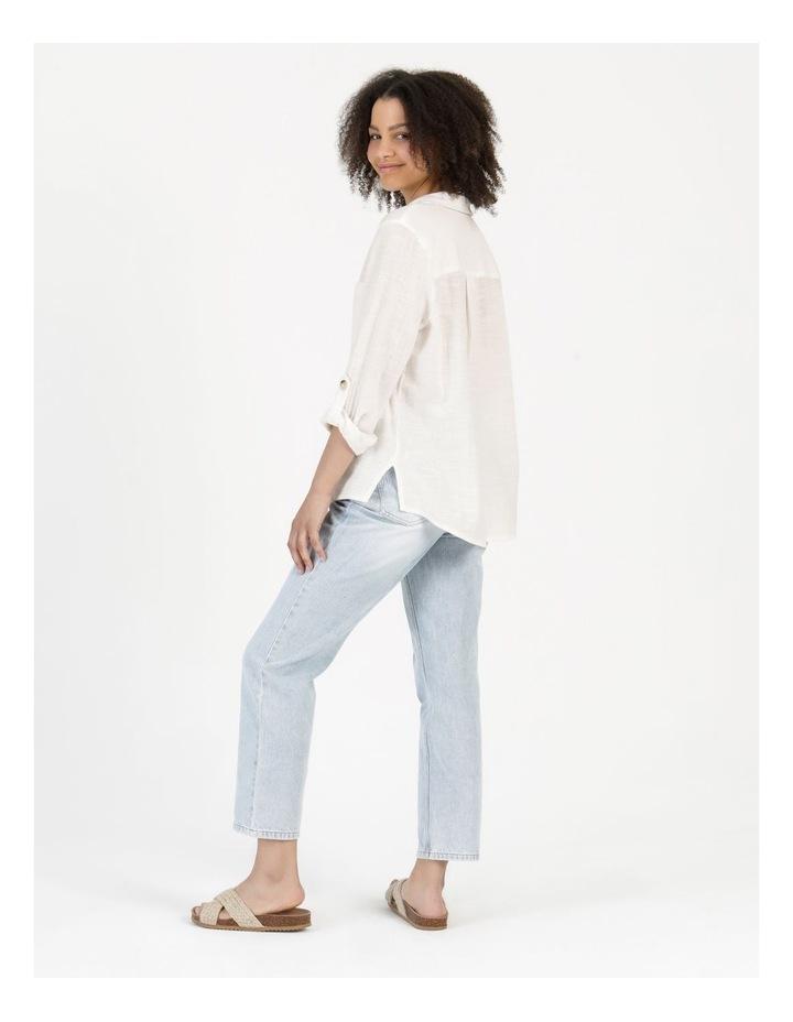 Long Sleeve Textured Cotton Shirt White image 2