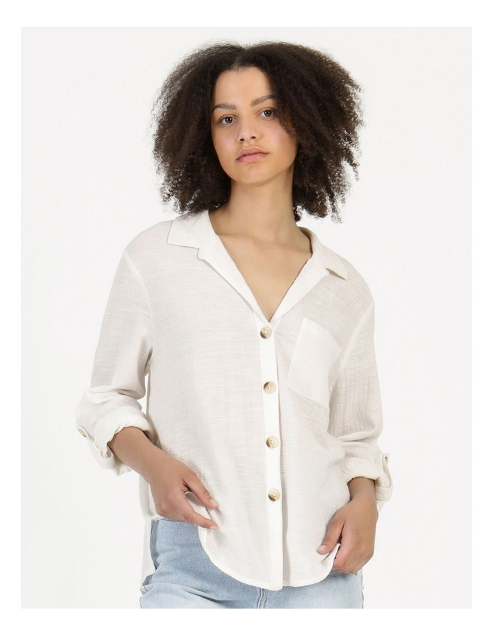Long Sleeve Textured Cotton Shirt White image 3