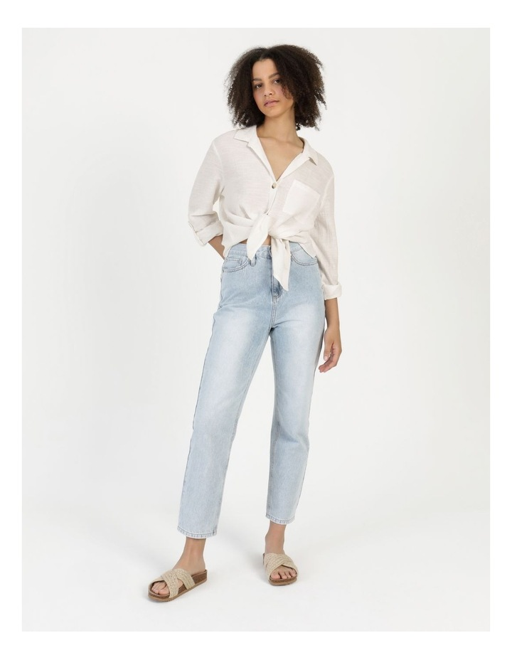 Long Sleeve Textured Cotton Shirt White image 4