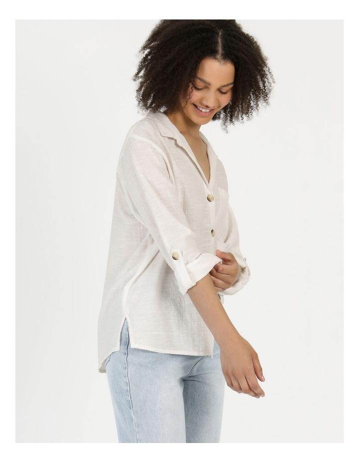 Long Sleeve Textured Cotton Shirt White image 5