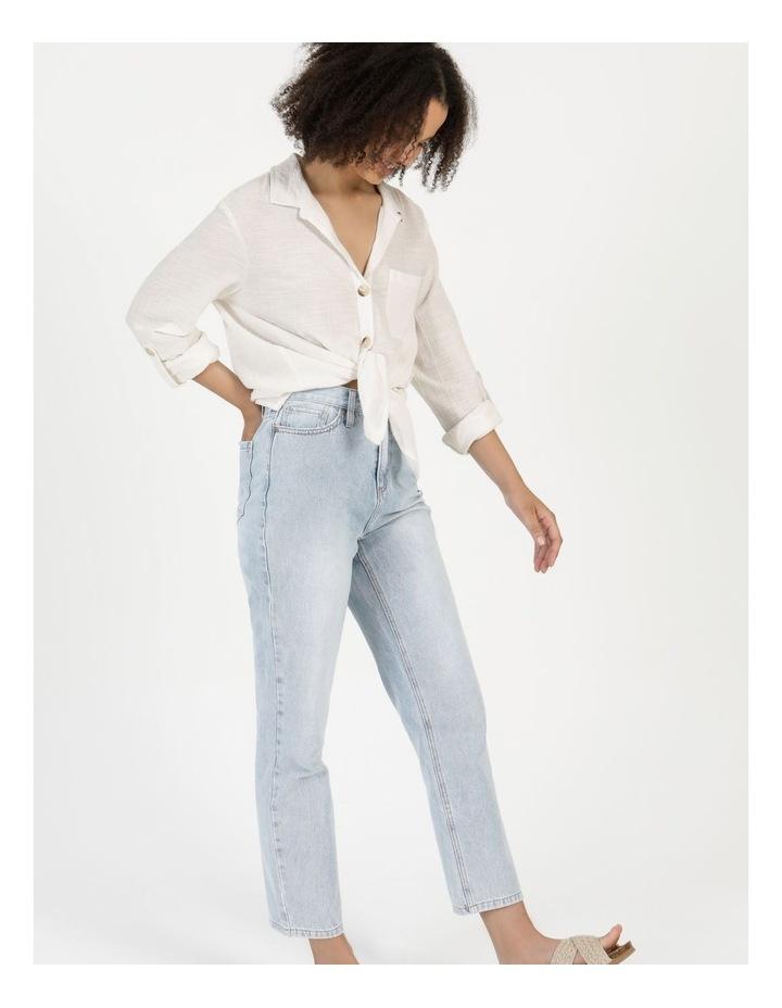 Long Sleeve Textured Cotton Shirt White image 6
