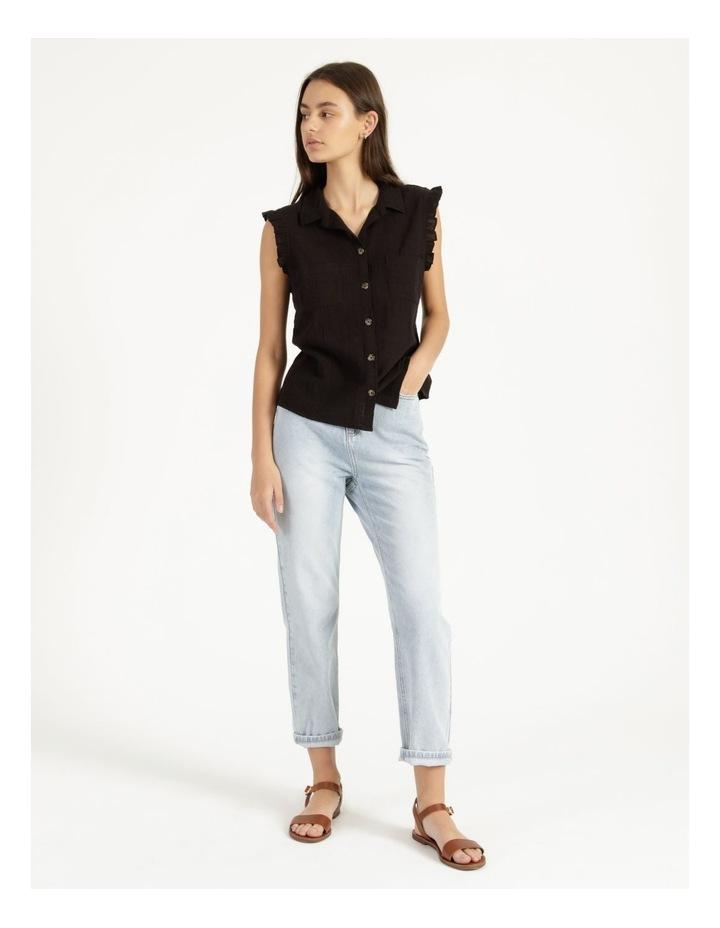Ruffle Sleeve Tie Front Shirt Black image 1