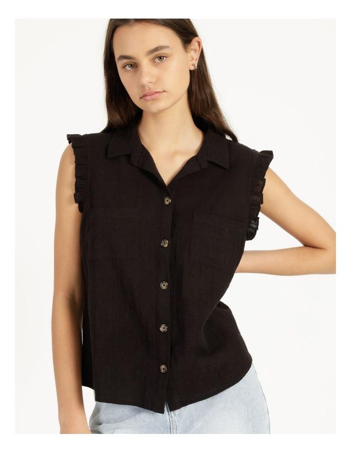 Ruffle Sleeve Tie Front Shirt Black image 2